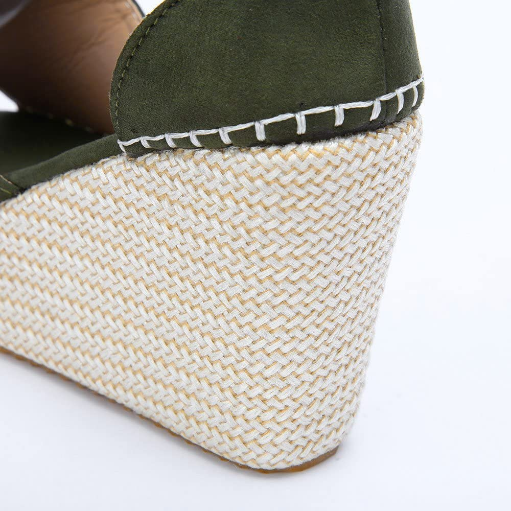 Siriay Womens Sandal Ladies Fashion Solid Sewing Ankle Strap Peep Toe Wedges Cover Heel Sandals Flatform Shoes
