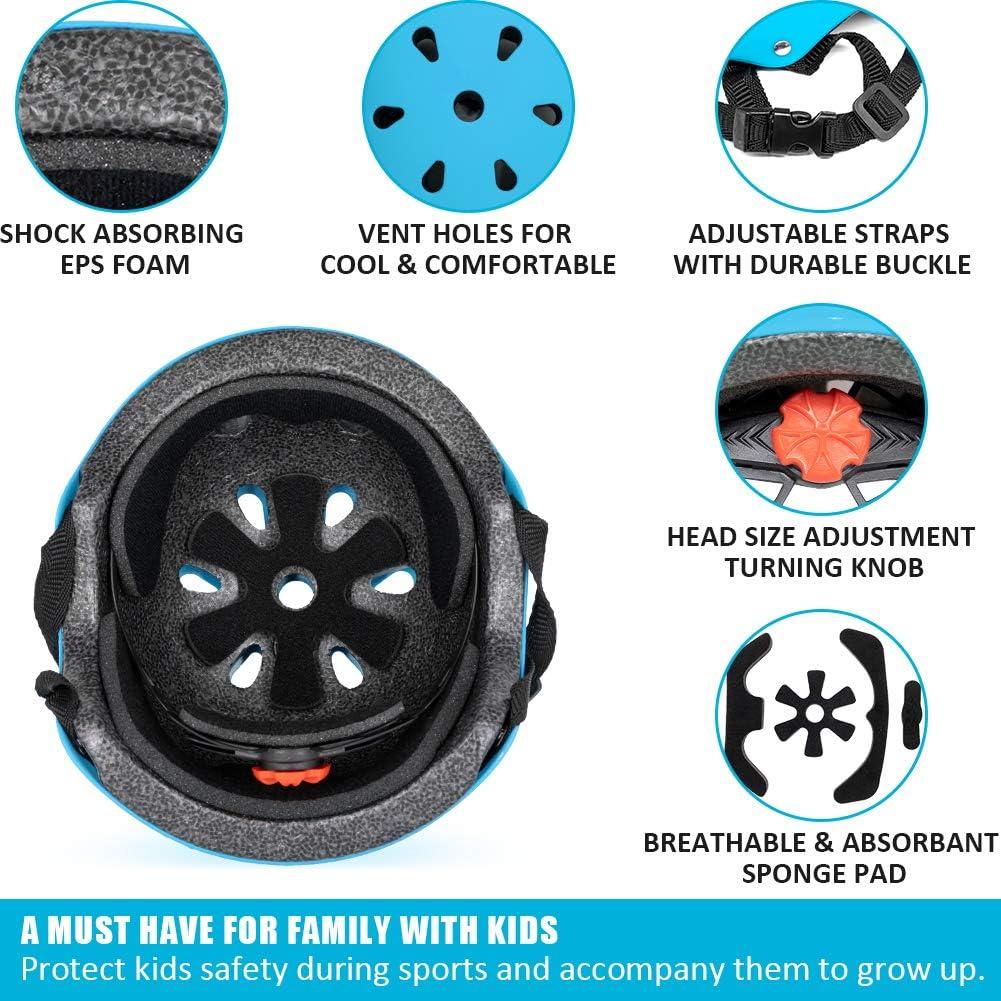 Impact Resistant /& Ventilation Multi-Sport Safety Cycling Skating Scooter Roller Skateboarding BMX Helmet Kids Helmet Bike Adjustable Toddler Skateboard Helmet for Boys Girls Ages 3-8 Years Old