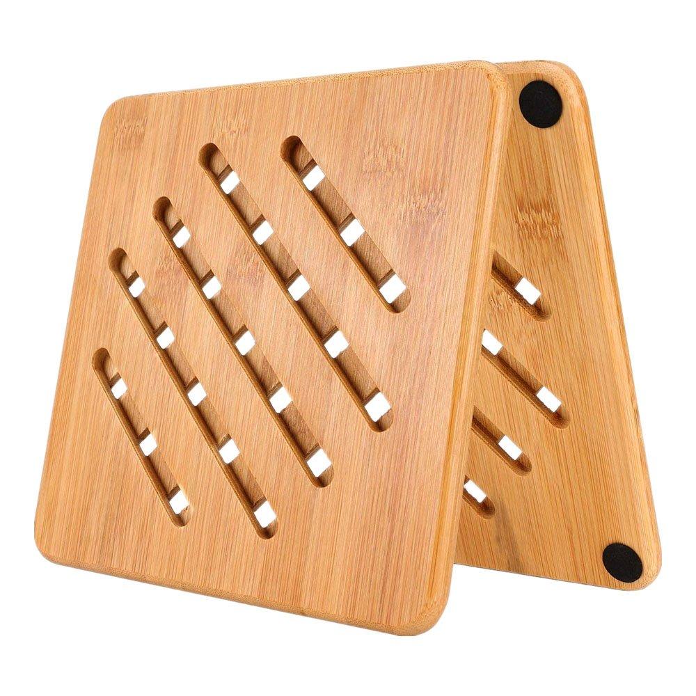 Bamboo Trivet Mat Set, Kitchen Wood Hot Pads Trivet, Natural Kitchen Tool Heat Resistant Pads for Hot Dish, Pot, Bowl, Teapot, Hot Pot Holder, Anti-Hot Non-Slip Durable Elegant Design (Square, 2Pcs)