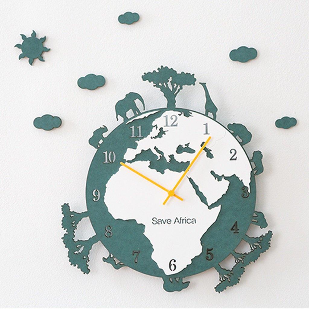 ウォールクロック 大きな壁の時計のリビングルームクリエイティブアートのベッドルームの時計ヨーロッパの牧歌的な人格クォーツ時計 (色 : 緑) B07D7RYP6Q緑