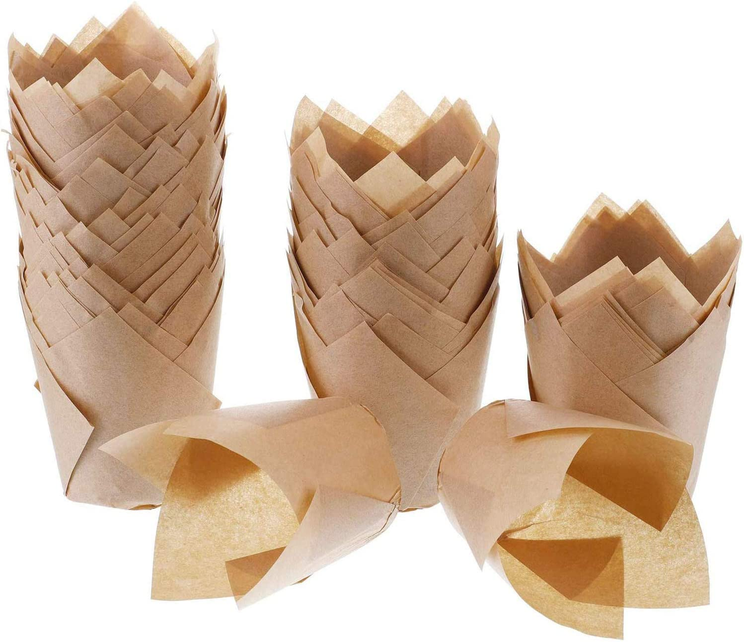 200pcs Tulip Cupcake Liners Muffin Cases Chocolate Brown Baking Paper Cups Liners Holder Grease-Proof Wrappers for Wedding Birthday Party Baby Shower (Natural)