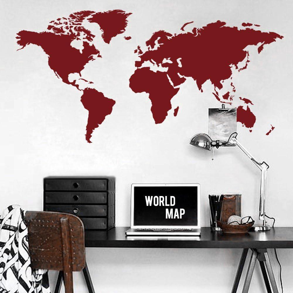 Mapa del mundo de vinilo adhesivo para pared, de MairGwall, vinilo, rojo oscuro, 32