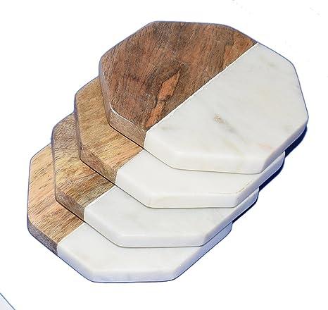 Mármol y Madera de Mango posavasos – blanco Carrara mármol piedra Juego de 4 posavasos para