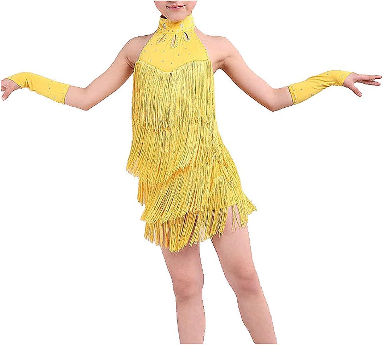 R TOOGOO Vestiti da Ballo Latino delle Ragazze 100cm Vestiti da Ballo del Ballo della Sfera di Ballo del Vestito dalla Frangia Latina Blu