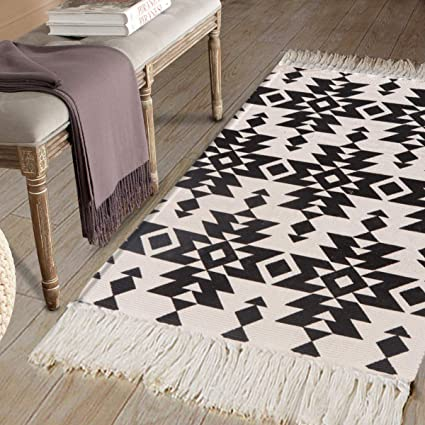 Cotton Printed Area Rug, Seavish Decorative Hand Woven Runner Carpet, Black and White Tribal