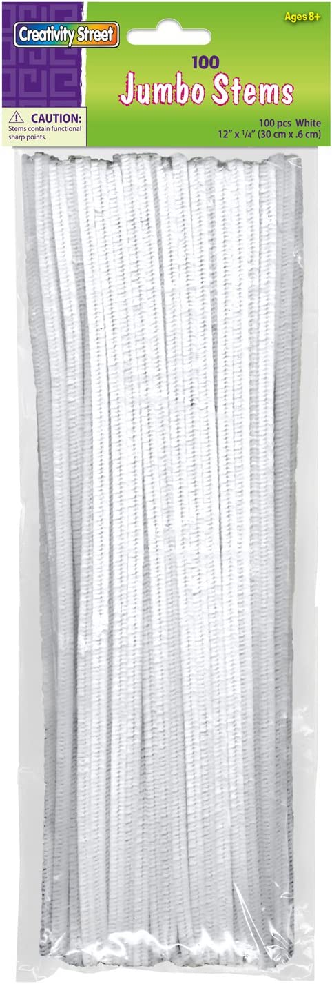 White Creativity Street Chenille Stems//Pipe Cleaners 12 Inch x 6mm 100-Piece