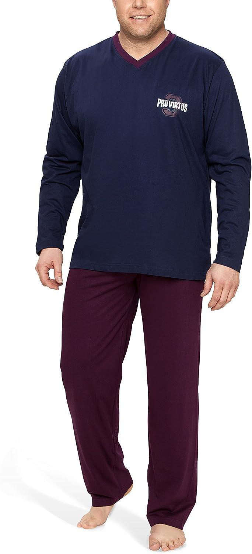 Moonline Plus - Pijama de Hombre Largo y de algodón en Tallas Grandes (Dos Piezas): Amazon.es: Ropa y accesorios