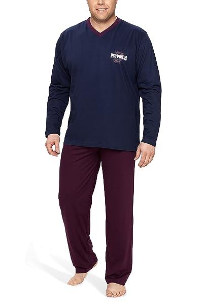 Moonline Plus - Pijama de Hombre Largo y de algodón en Tallas Grandes (Dos Piezas