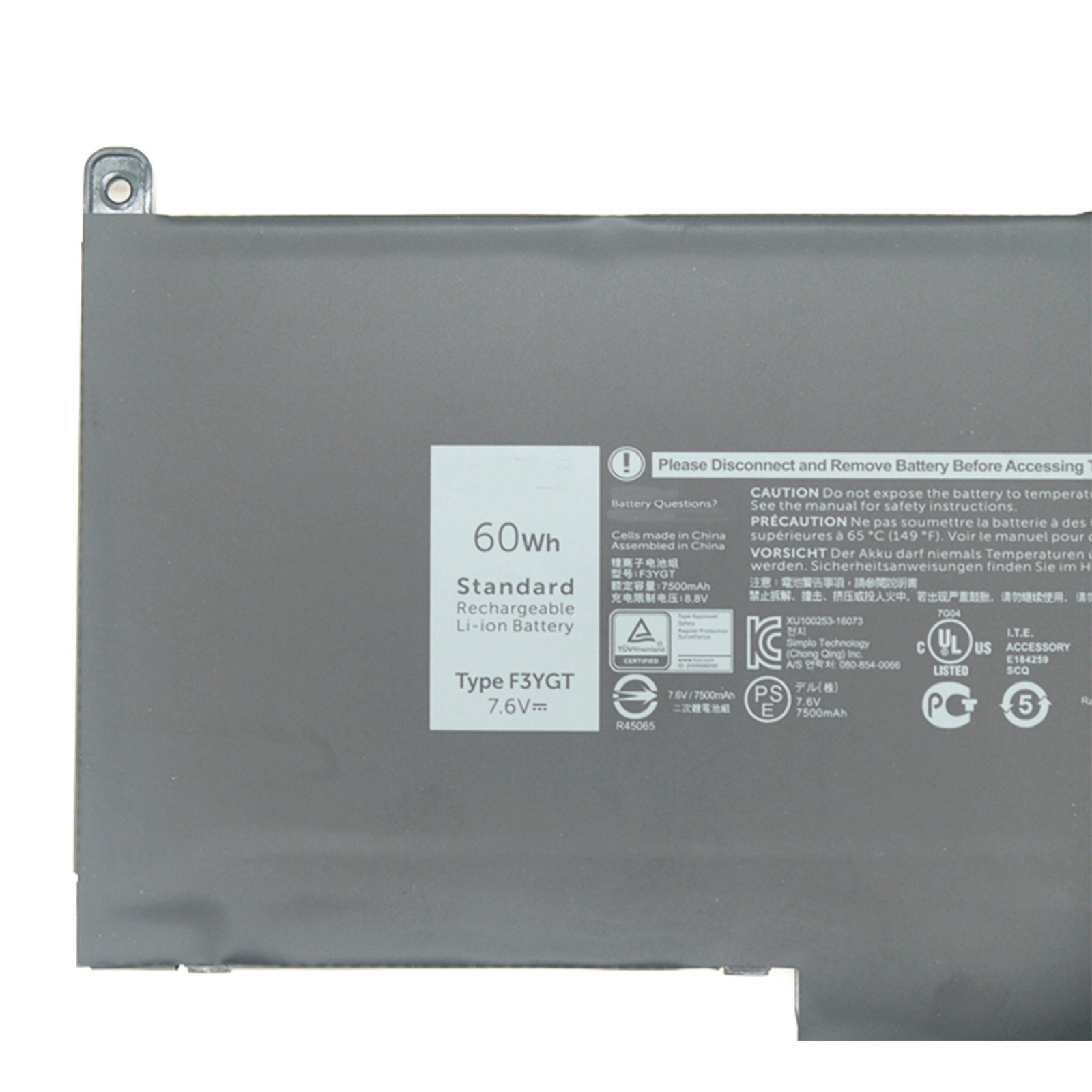 Dentsing F3YGT battery for Dell Latitude 7280 Latitude 7480 DM3WC 0DM3WC 2X39G 7.6V 60Whr by Dentsing (Image #2)