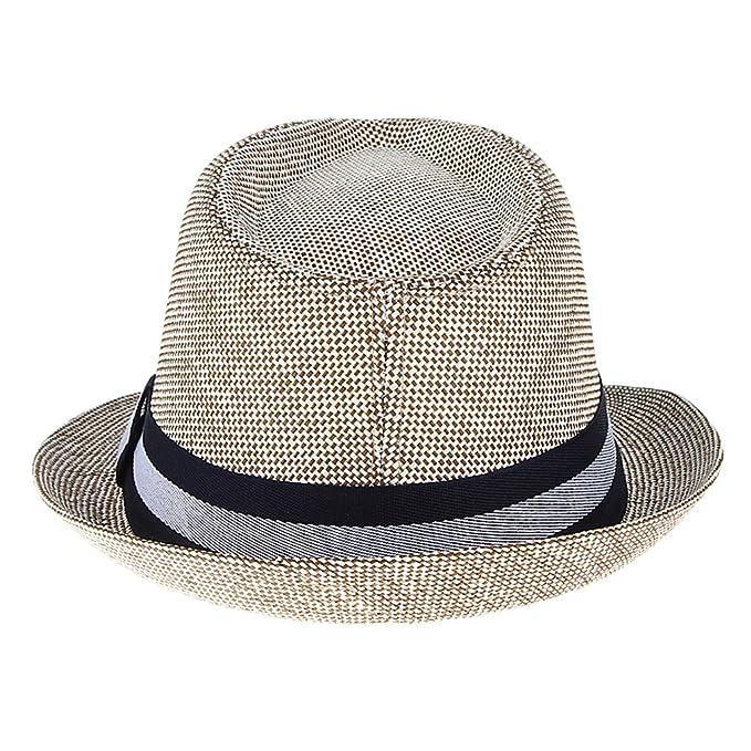 0b6af9b413e Gemvie Mens Summer Short Brim Sun Hat Beach Fedoras Cap Jazz Hat Cap Coffee  at Amazon Men s Clothing store