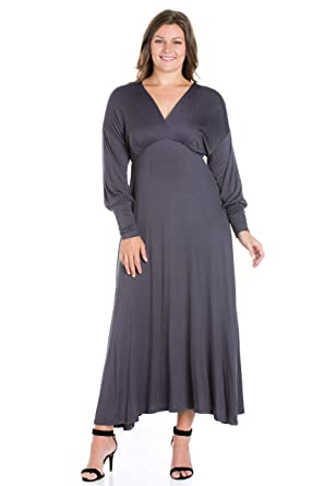 247 Comfort Apparel Plus Size Dresses Long Sleeve V Neck Empire