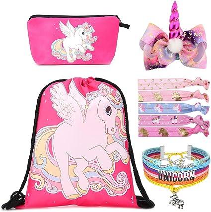 incluye bolsa de maquillaje Standie lazos para el pelo para regalos de fiesta de unicornio 1 Rosa pulsera Juego de 9 piezas de mochila con cord/ón para regalo de unicornio para ni/ñas collar