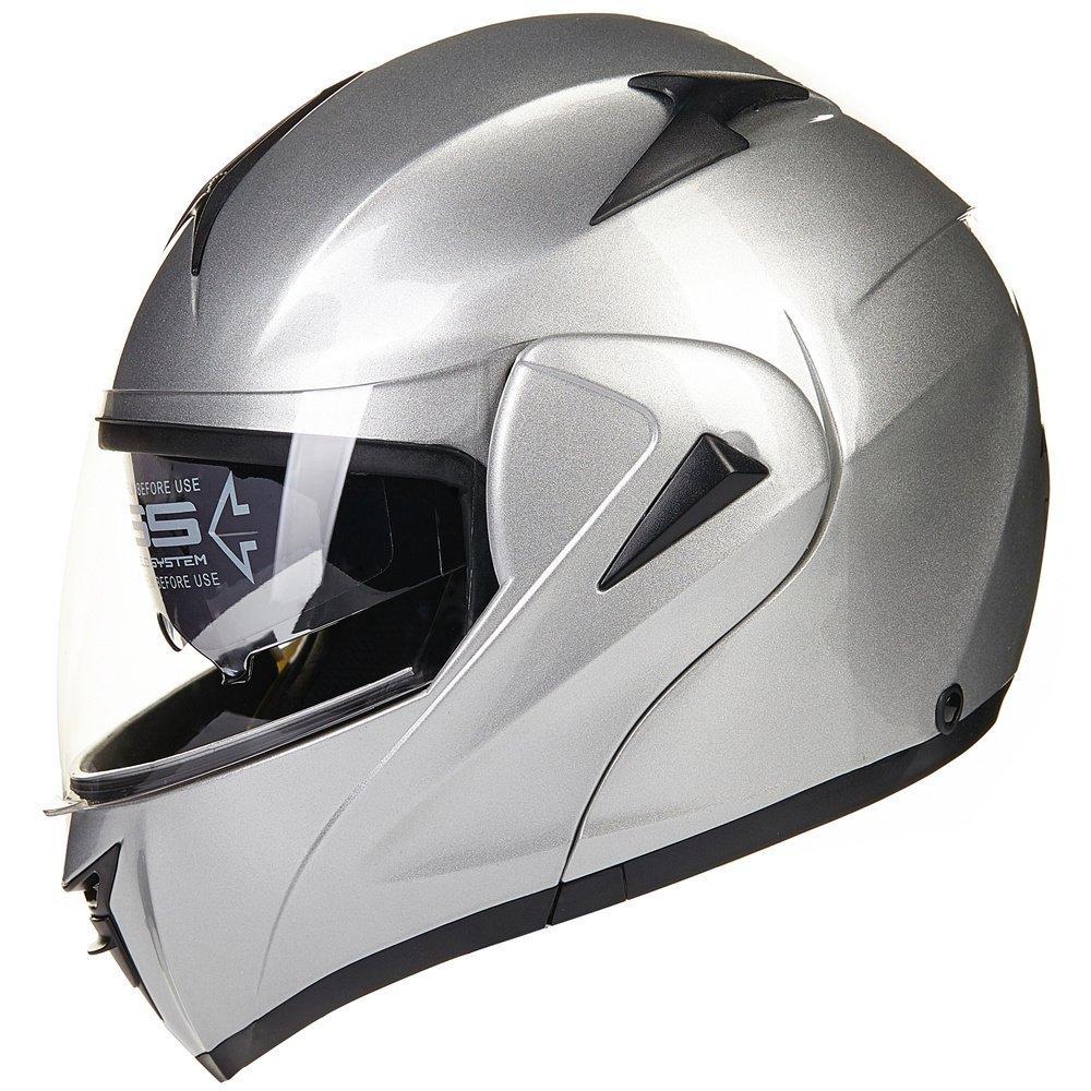 by ILM 10 Colors Motorcycle Dual Visor Flip up Modular Full Face Helmet DOT XL, Matte Black