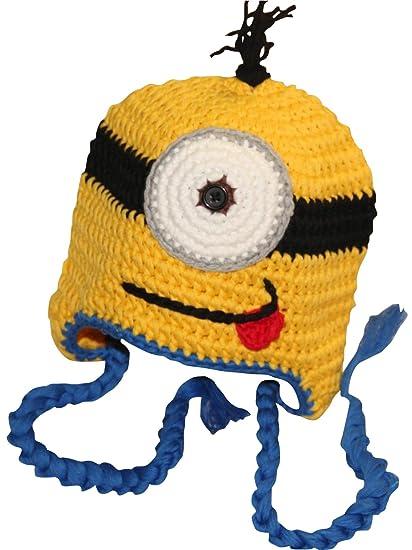 db713552c222c Amazon.com  Hand Made Girl Boy Crochet Hat Knit Ski Cartoon Cap (Blue)   Clothing