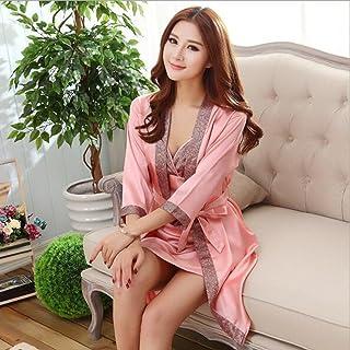 Boxer Briefs Couple Women Kimono Satin Silk Soft Nightwear Bathrobe Robes Dressing Gown Housecoat Sleepwear (Color : E, Size : L)