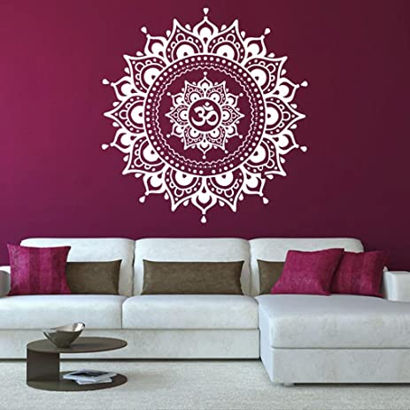 Amazon highpot bedroom mandala flower wall stickers living room highpot bedroom mandala flower wall stickers living room art mural home decal white mightylinksfo