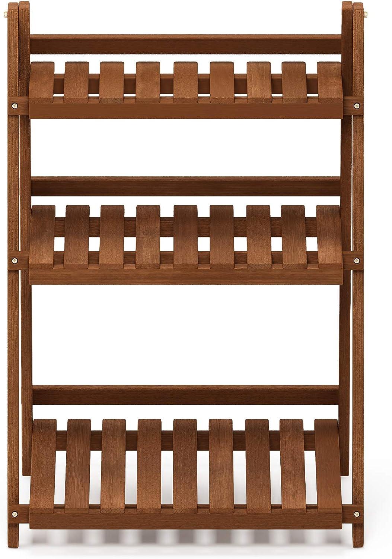 Furinno FG18452 Tioman Hardwood Patio Furniture Outdoor 3-Tier Flower Rack, Natural