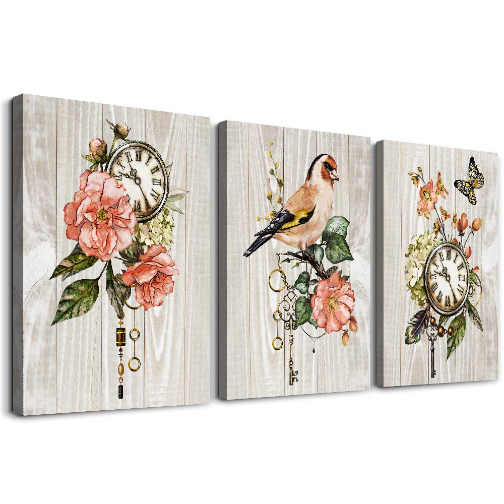 3 Piece Canvas Wall Art for living room bathroom Wall Decor Canvas Prints Office kitchen wall Artwork painting Home Decor Wood grain Retro Flowers and birds clock Poster Picture bedroom Decorations