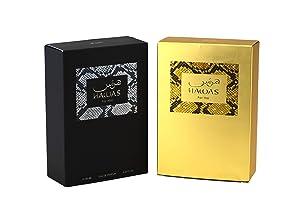 RASASI Hawas EDP (Couple Set) Men & Women 100 ML (3.4 oz)   Oriental Fragrance for Every Occasion   Enchanting Cinnamon, Bergamot, Orange Blossom and Grey Amber   Elegant Bottle Perfumes