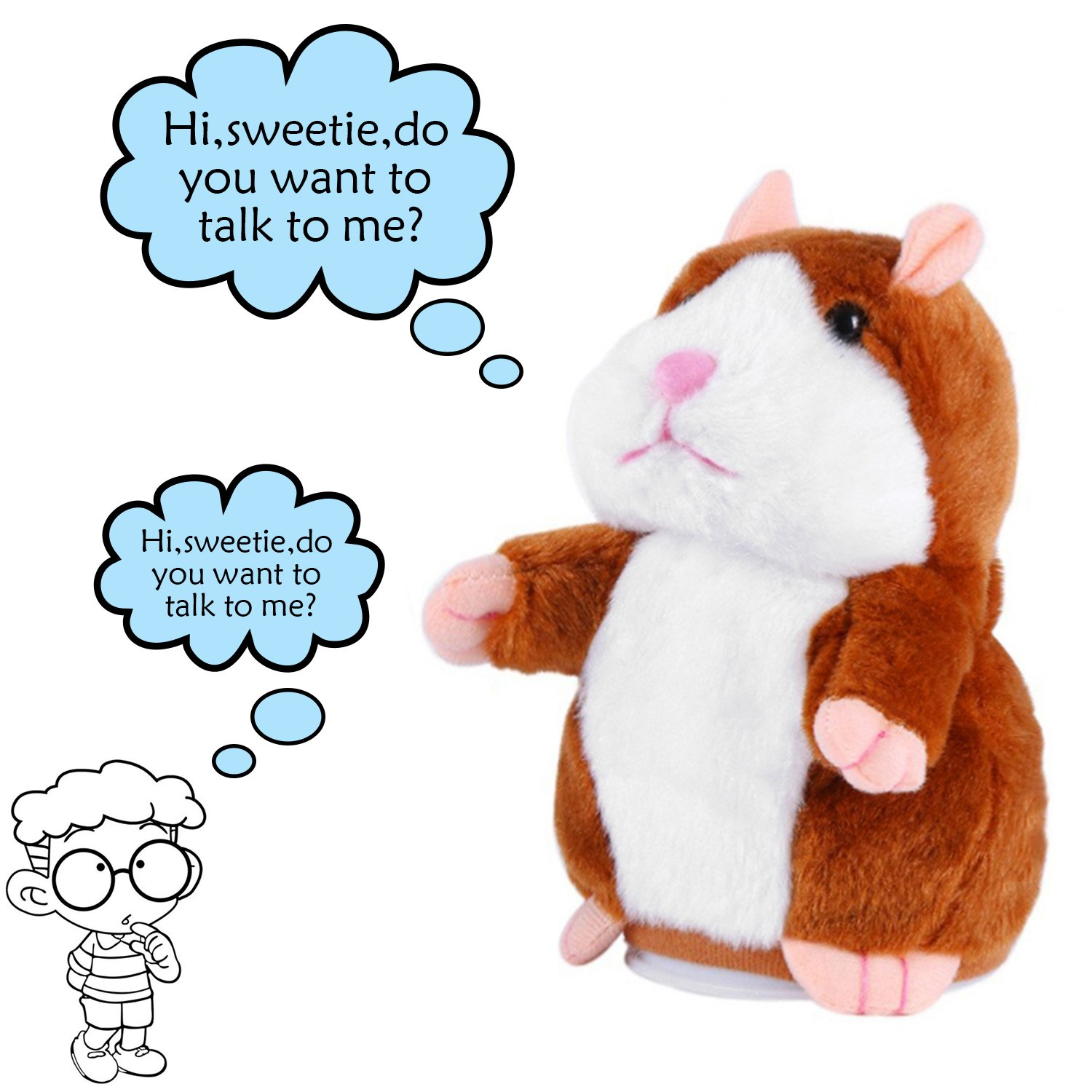 Mimicry Talking Hamster Toys For Kids Toddler Adults Lovers, Electronic Stuff Pet Mouse Funny Plush Interactive Toy Speak It Out Game Voice Record Toy Best Gift For Valentines Day, Birthday, Xmas(Grey) Katedy kya1802