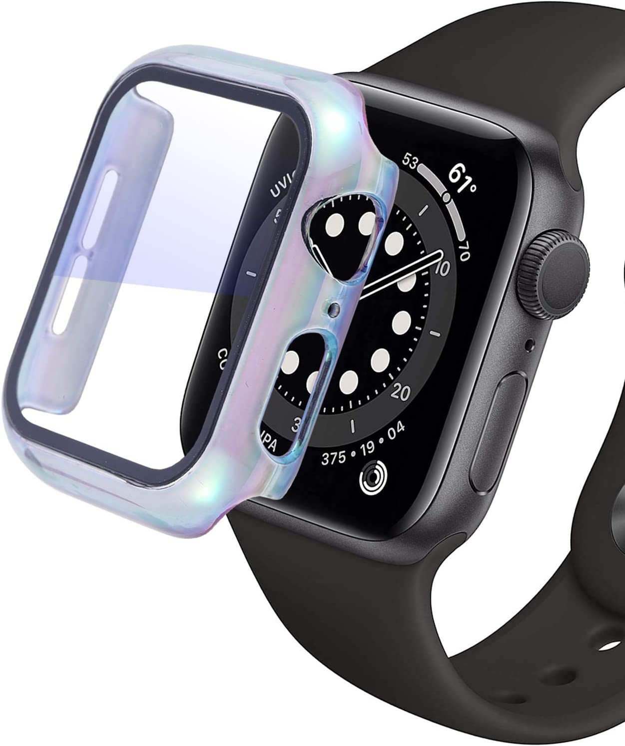 iTecFree for Apple Watch Case 40mm PC Hard Protective Cover Bumper with Screen Protector for iWatch SE Series 6 / Series 5 / Series 4 Accessories. (Colorful, 40mm)