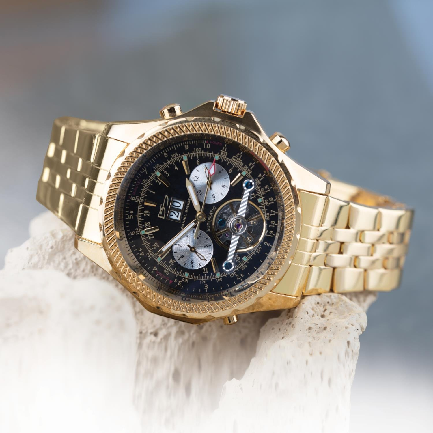 Amazon.com: Daniel Steiger Enduro Automatic Mens Watch - Black Dial - Gold Plated Stainless Steel Case - Day, Date & Month Calendar - Skeleton Case Back: ...