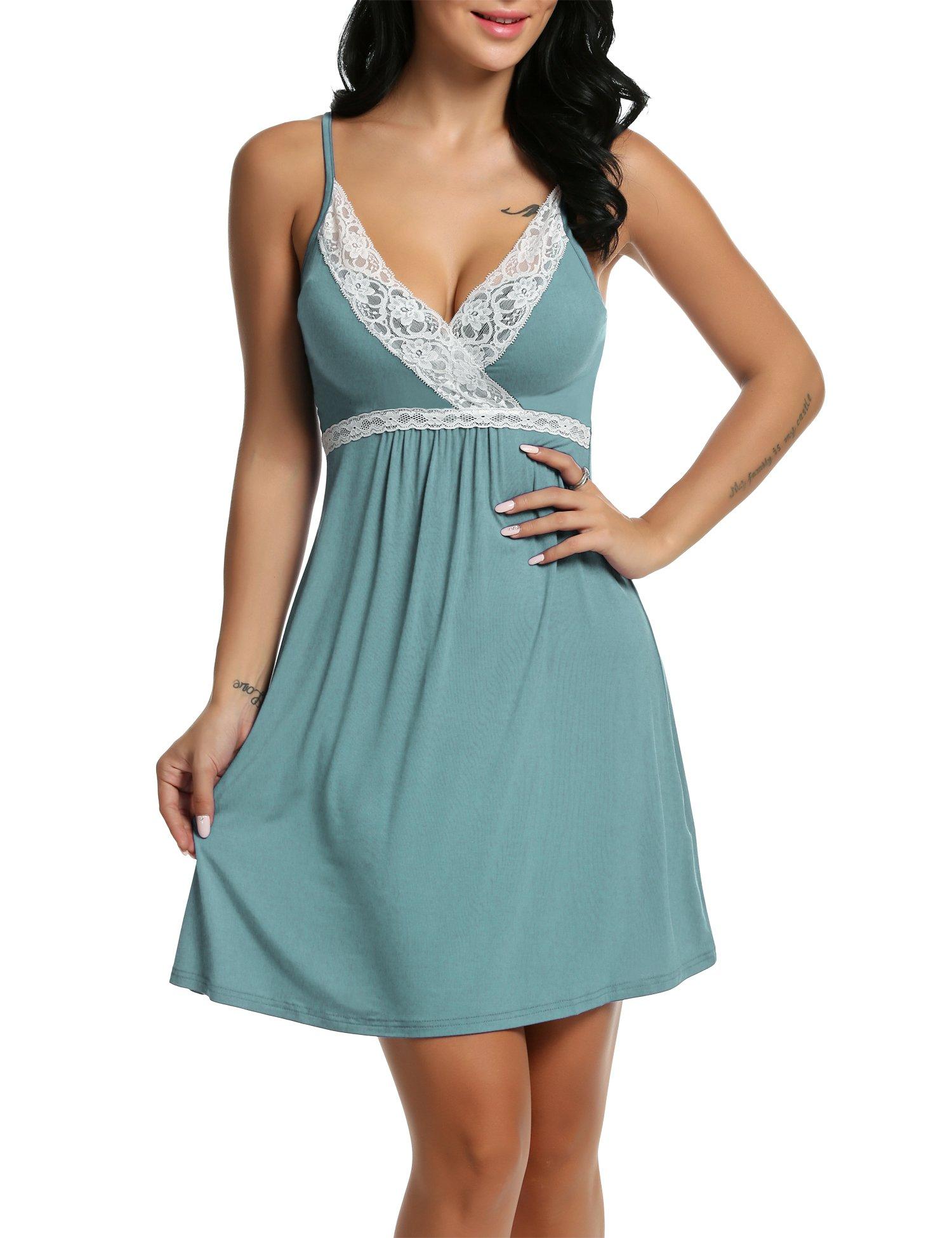 de7f48fc530 Galleon - Hotouch Women s Satin Camisole Nightgown Classic Chemise Slip  Sleepwear Light Green S