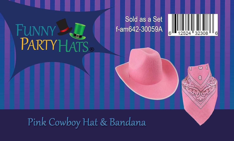 966c3117d96be Amazon.com  Pink Cowboy Hat - Felt Cowboy Hats w  Paisley Bandana by Funny  Party Hats  Clothing