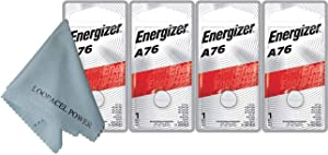 Energizer A76 LR44 1.55V Button Cell Alkaline Batteries (Individually Packaged Each with Retail Hanging Tab) x 4