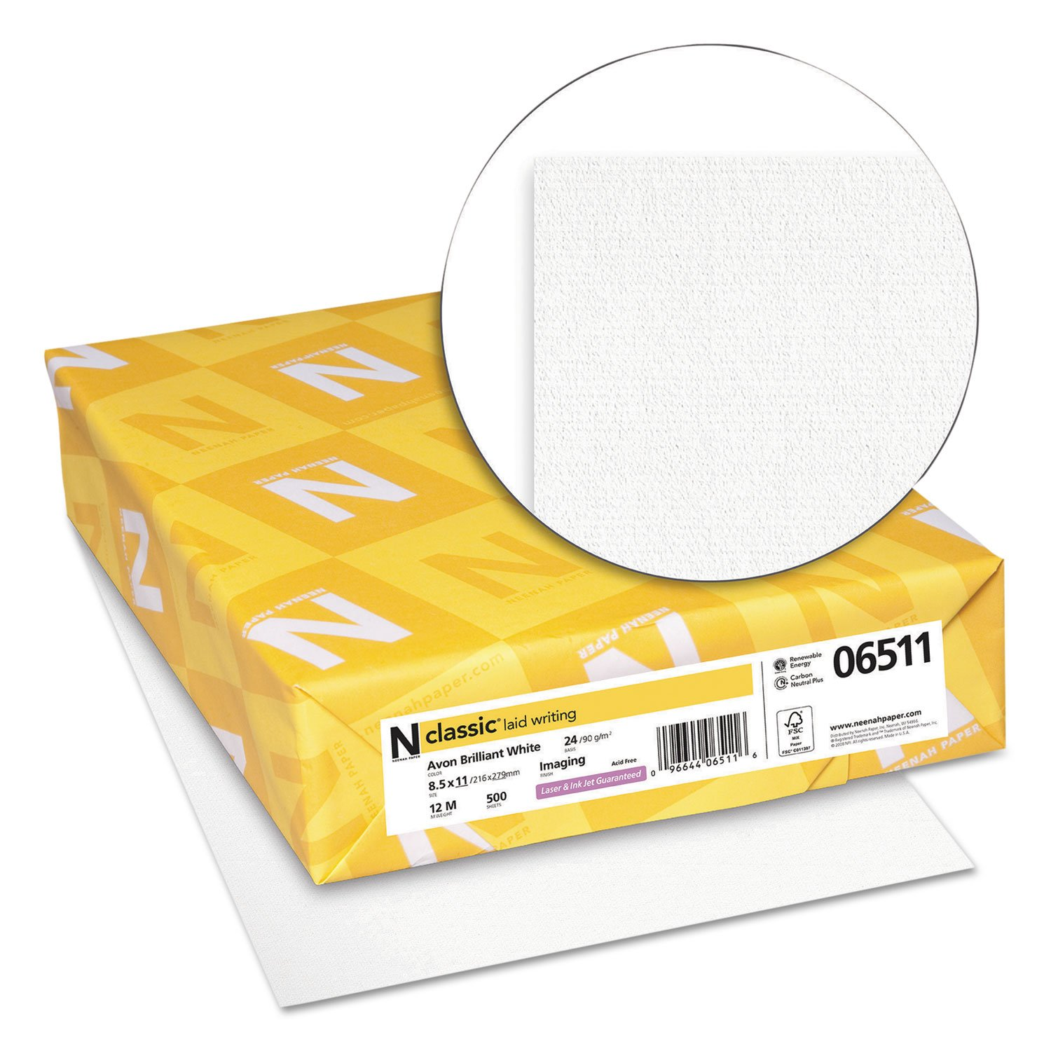 Neenah Paper 06511 CLASSIC Laid Writing Paper, 24lb, 93 Bright, 8 1/2 x 11, Avon White, 500 Sheets by Office Realm