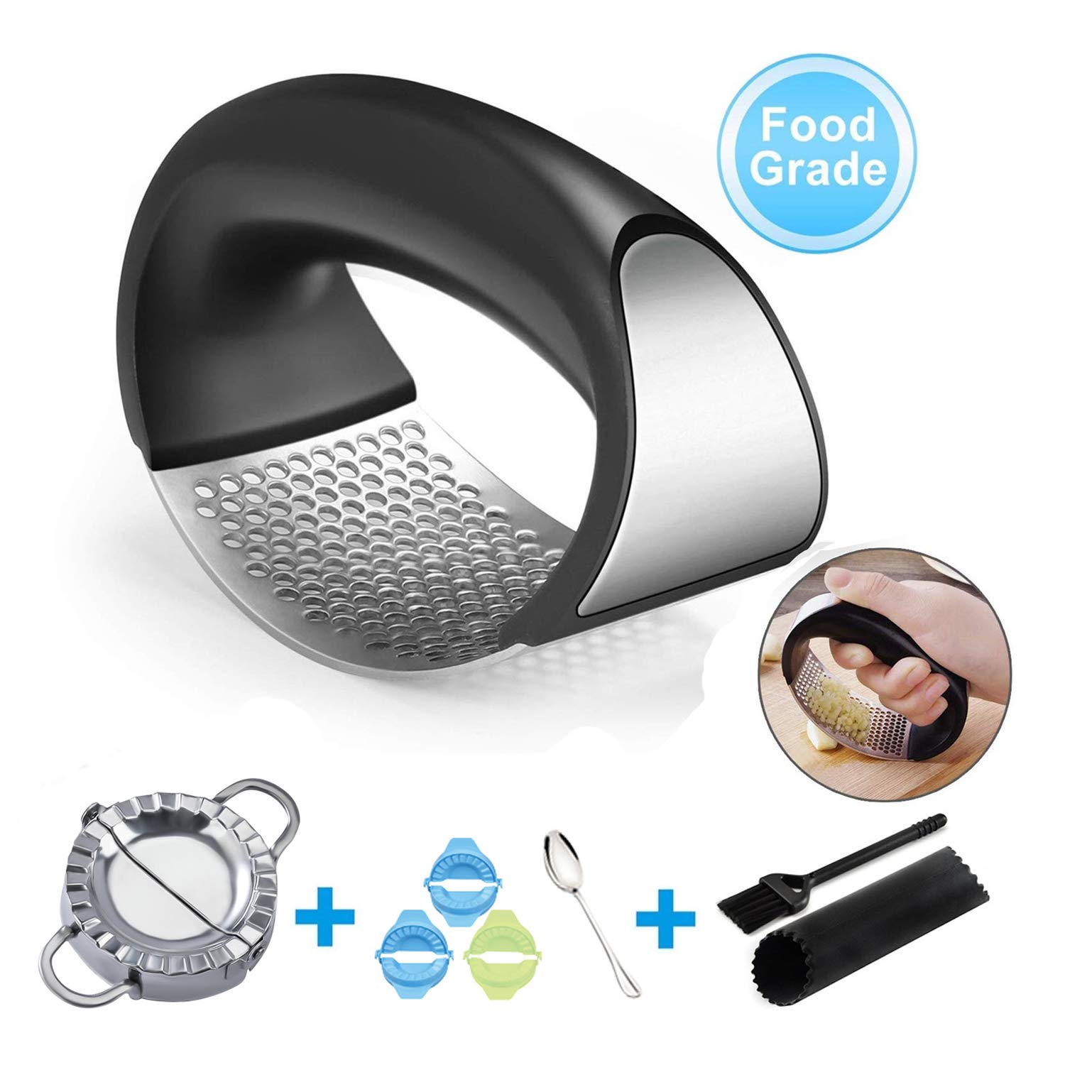 XYQC Garlic Press, Garlic Presses Rocker Crusher with Dumpling Maker Silicone Garlic Peeler and Garlic Cleaner Brush, Easy to Use and Clean by XYQC