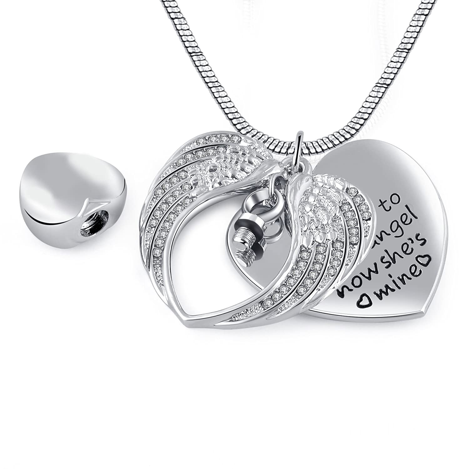 Eternally Loved Unisex Angel Wing Memorial Keepsake Ashes Urn Pendant Necklace, I Used to Be His Angel Now He's Mine