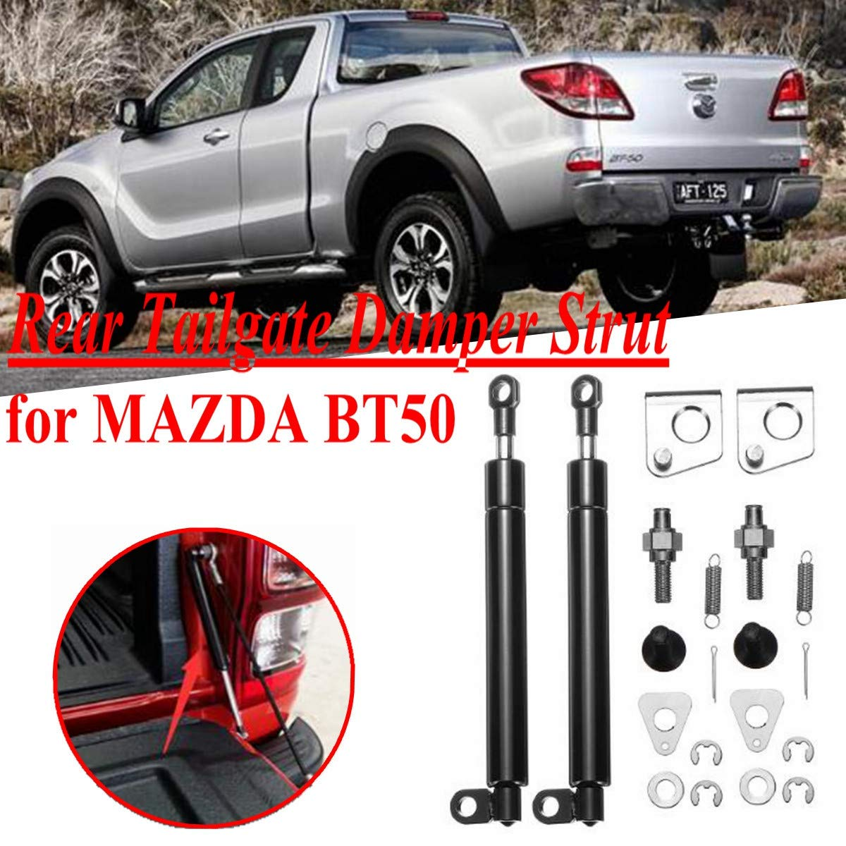 Alelife 1 Pair Rear Tailgate Slow Down /& Easy Up Strut Kit for Ford PX Ranger 2011-2017 Accessories