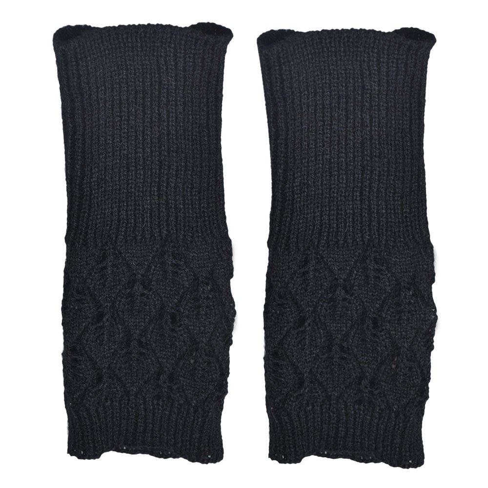 Promotion!!! Maonet Fashion New Women Leaves Knitted Fingerless Gloves Arm Warmer Thumb Hole Mittens (Black)