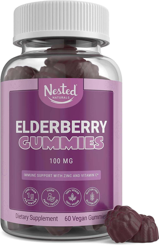 Elderberry Gummies | 100mg Sambucus Elderberry Extract with Zinc & Vitamin C | Immune System & Antioxidant Support Supplement | 60 Count Vegan Gummy | Less Than One Gram Organic Sugar