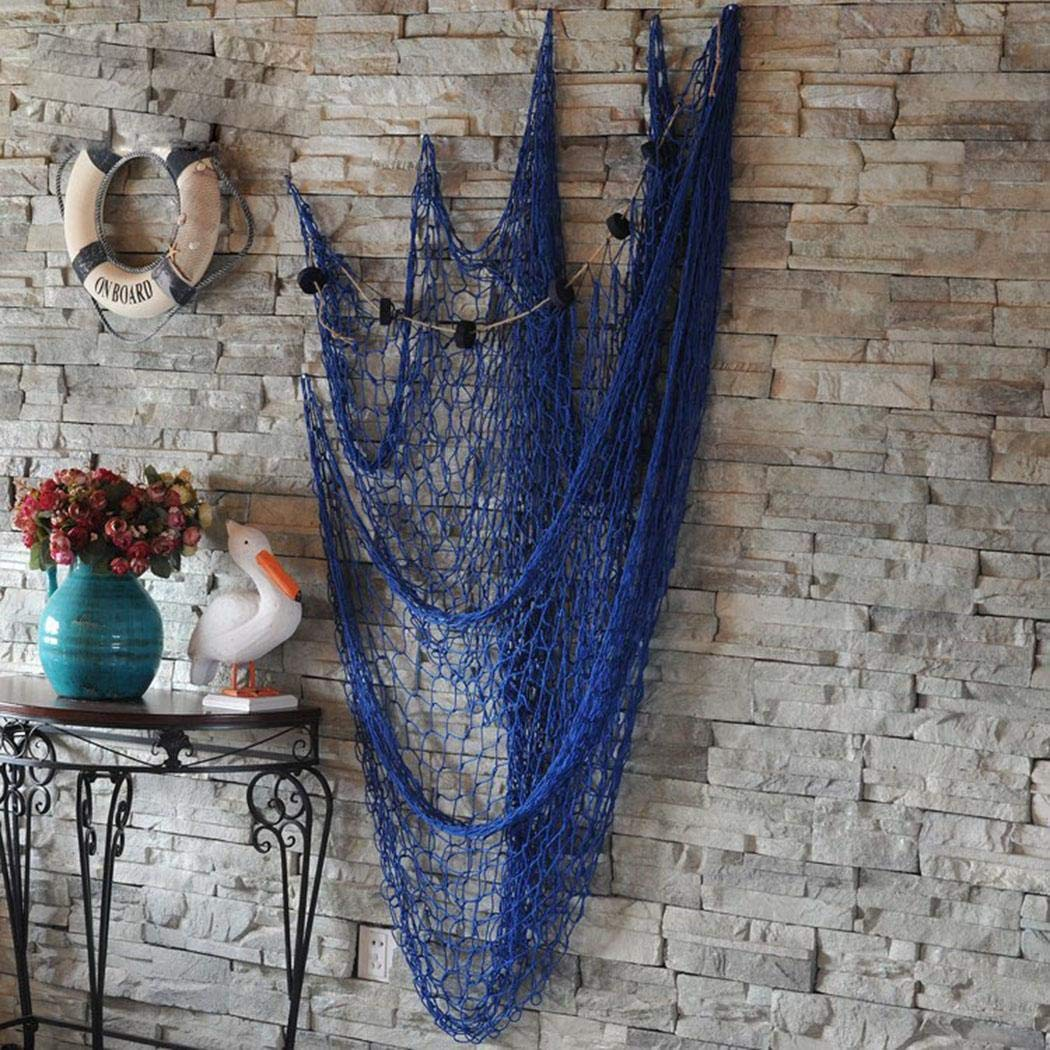 Batteraw Fish Net Wall Decor Decoration Background Nautical Mediterranean Style Photo Hanging Display Frame Without Shells 1 x 2m