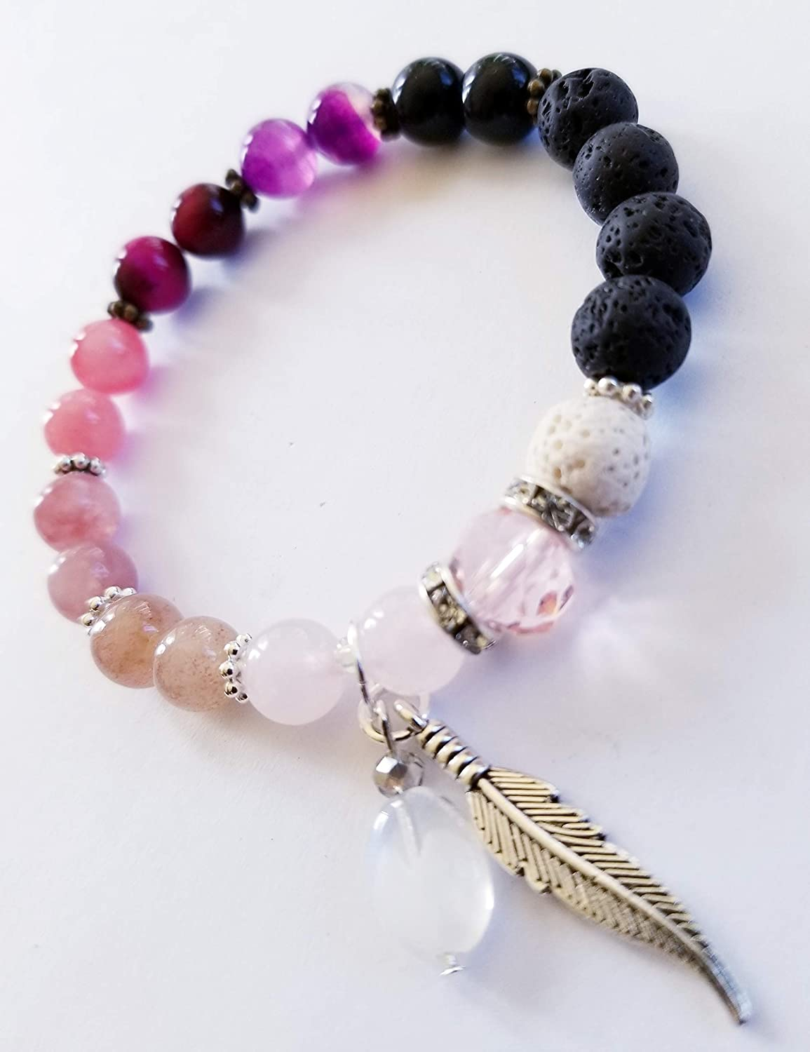 Healing Stone Bracelet in Shades of Pink with Black and White Lava Stone Beads for Essential Oil Diffusion