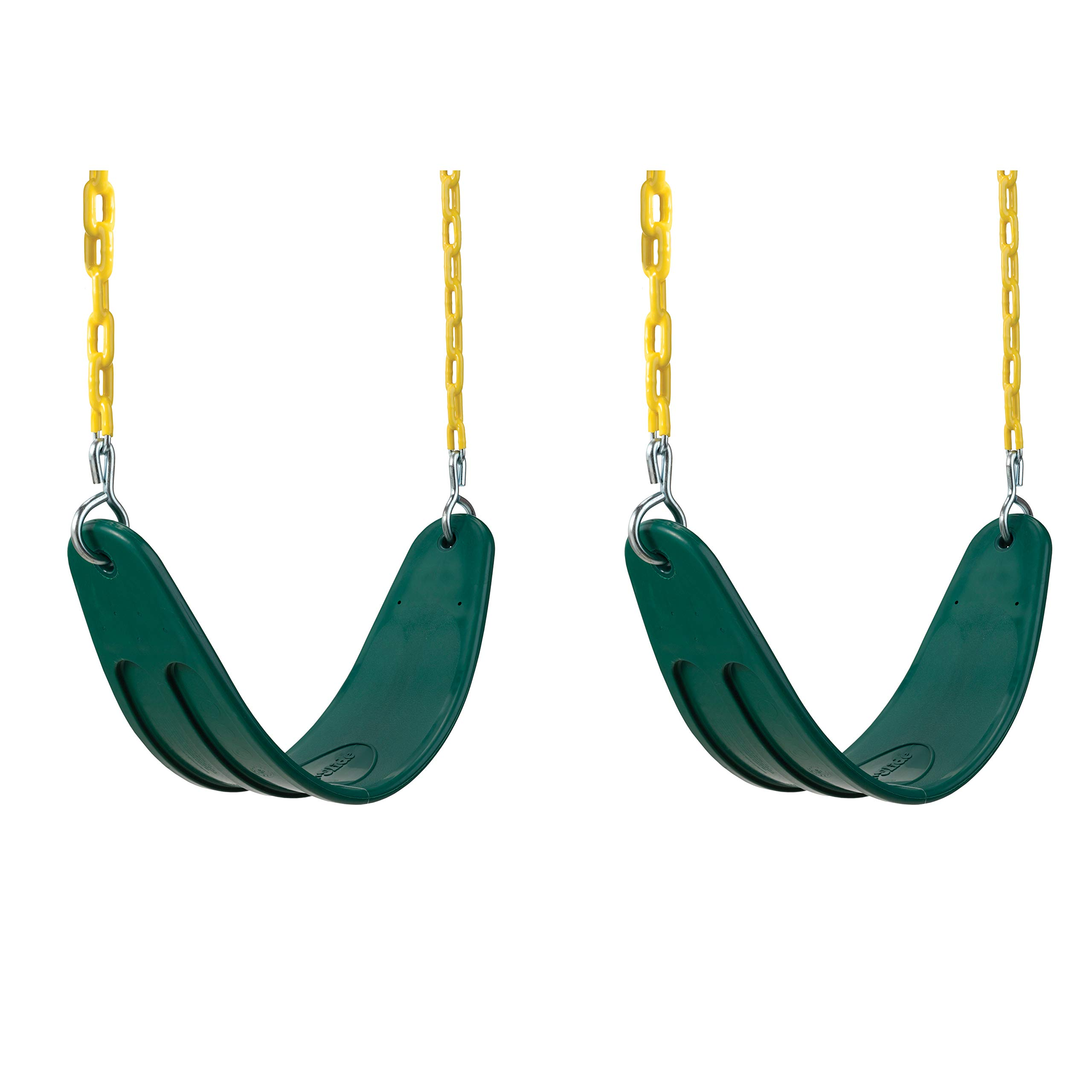 Swing-N-Slide Extreme Heavy Duty Swing Seat Set Outdoor Playground Swings with Coated Chains & Quick Links, Green, Pack of 2