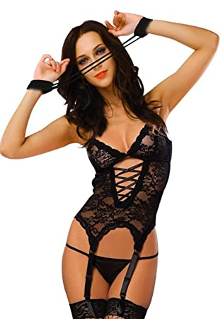 3ce5fc230b Glantop Sexy Lingerie Babydoll Lace Dress Underwear Sleepwear G-string +  Hand Straps Set L Size Black  Amazon.co.uk  Health   Personal Care