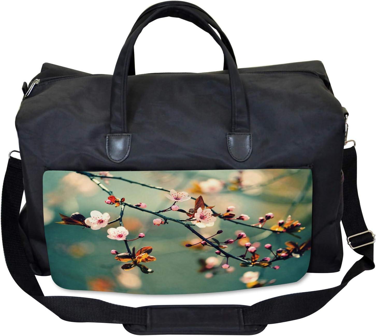 Pink Cherry Sakuras Large Weekender Carry-on Ambesonne Japanese Gym Bag