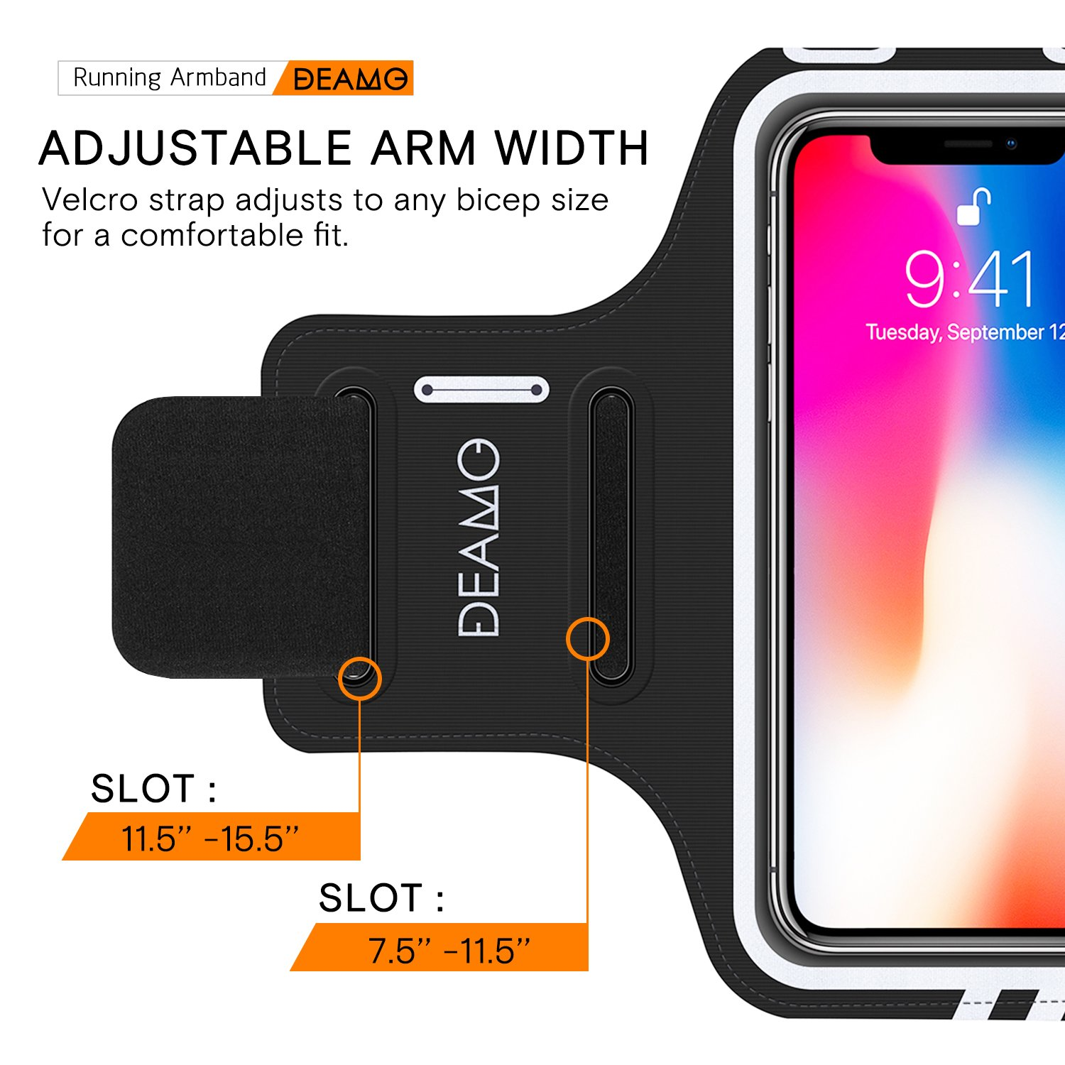 IPhone X, 8, 8+, 7, 7+, 6S, 6S+, 6, 6+ Samsung S8 S9 SPORTS Armband - Fingerprint Touch, Great for Running, Cycling or any Fitness Activity, Unique Hidden Pocket for Stores Cash, Cards and Keys. by Deamo (Image #6)