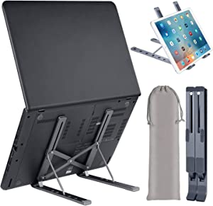 """Laptop Stand, Adjustable Aluminum Laptop Computer Stand Tablet Stand,Ergonomic Foldable Portable Desktop Holder Compatible with MacBook Air Pro, Dell XPS, HP, Lenovo More 10-17"""" Laptops"""