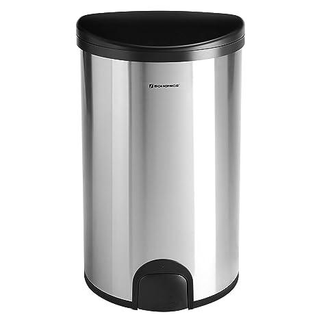 SONGMICS Cubo de Basura con Sensor Cubo de Cocina con Anillo de presión Aislar el Olor Acero Inoxidable 50 L Color Plata LTB91NB