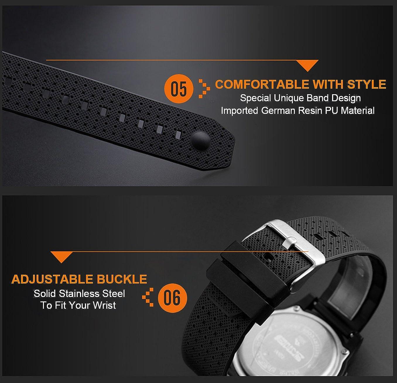 Hombres del reloj deportivo digital LED pantalla electrónica militar relojes y resistente al agua Casual luminoso cronómetro alarma Simple ejército reloj ...
