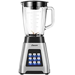 Decen Blender, Smoothie Blender 1000W for Ice Crushing with 5-Speed (24000 r/min) and 4-Programs Setting, 64 OZ Glass Jar & 6 Titanium Alloy Blades & Stainless Steel Housing Base