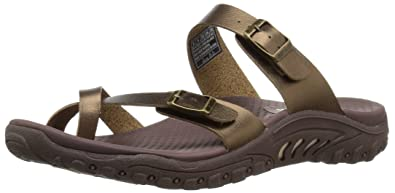 cc667ee5526e Skechers Women s Reggae-Wishlist-Double Buckle Toe Thong Slide Sandal  Bronze 10 ...