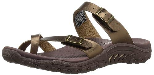 42500a88d473 Skechers Womens 40981 Reggae - Wishlist - Double Buckle Toe Thong Slide  Gold Size  5