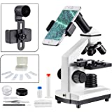 100-1000倍顕微鏡学習用 子供小学生 上下LEDライト内蔵 標本 スマホ撮影セット 日本語の説明書付き 高校生や大人に適して教育、生物学的研究にMAXLAPTER