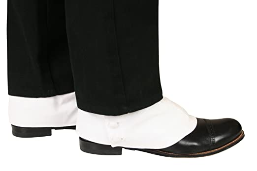 Great Gatsby White Suit- Get the Leonardo DiCaprio Look Premium Cotton Button Spats Historical Emporium Mens $31.95 AT vintagedancer.com