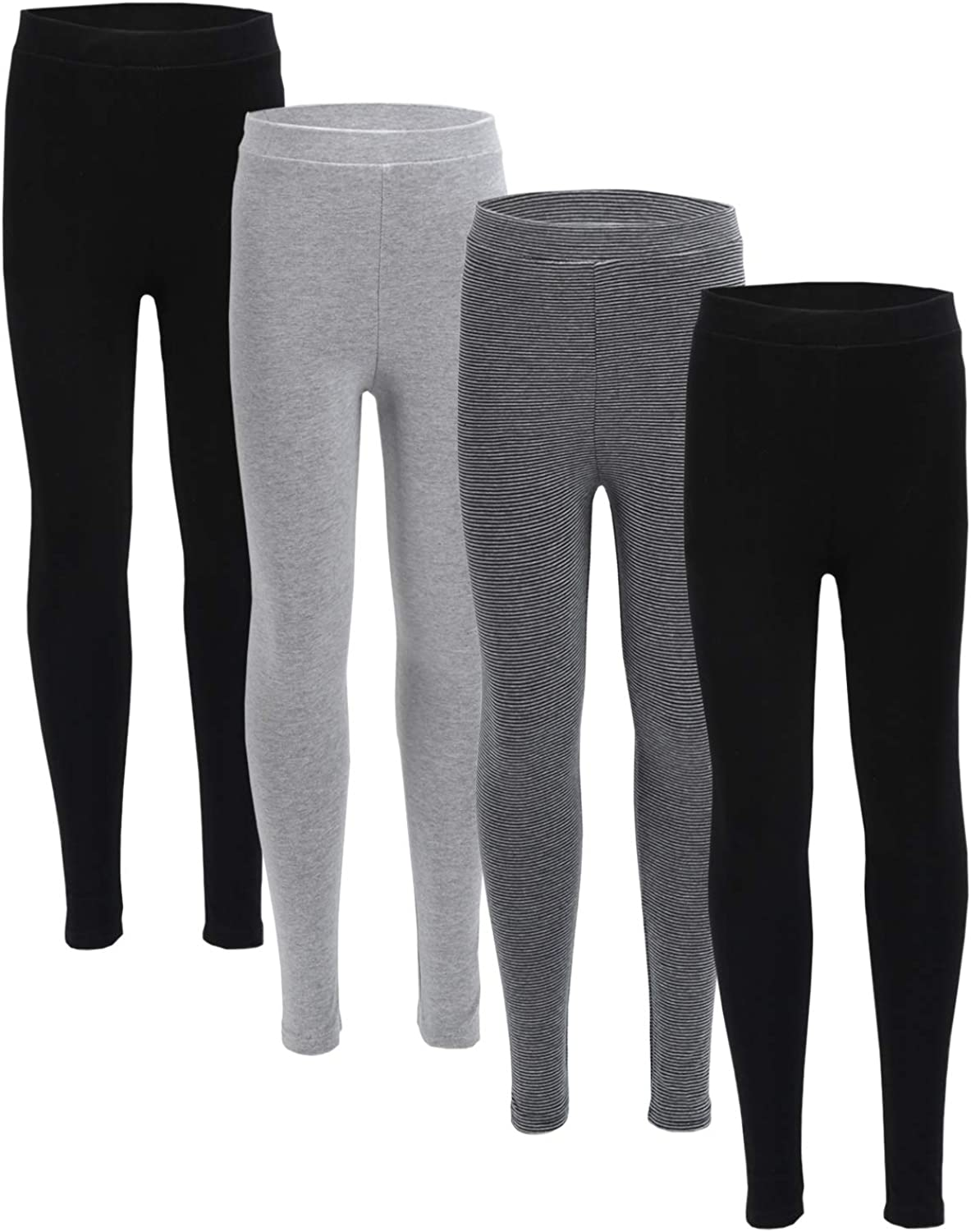 WEWINK PLUS Girls Leggings 4 Pack Cotton Basic Leggings Ankle Length Active Girl Tight Trousers Comfy Kid Pants